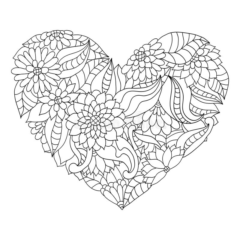 Free Hand Drawn Flower Heart For Adult Anti Stress Colouring Book. Royalty Free Stock Photos - 96790508