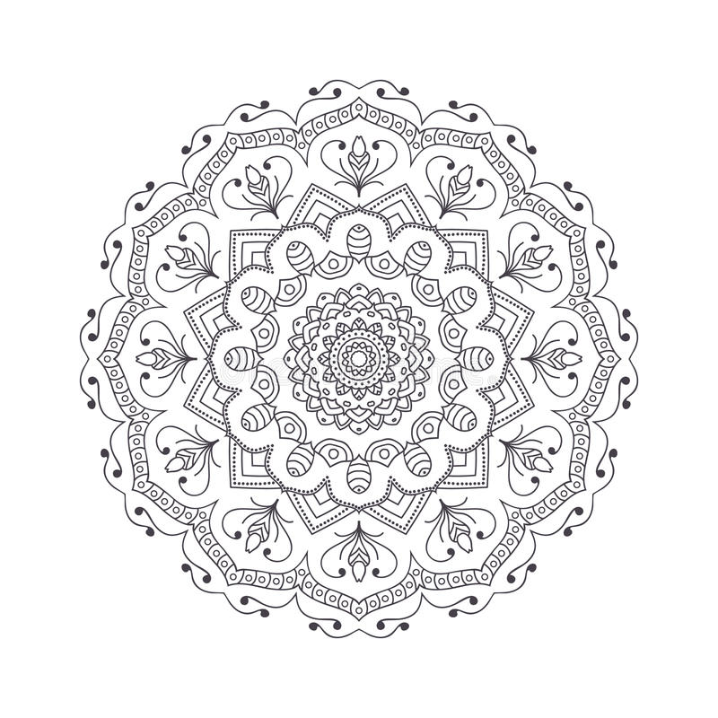Hand drawn flower mandala for coloring book. Black and white ethnic henna pattern. Indian, asian, arabic, islamic, ottoman, moroccan motif. Vector illustration royalty free illustration