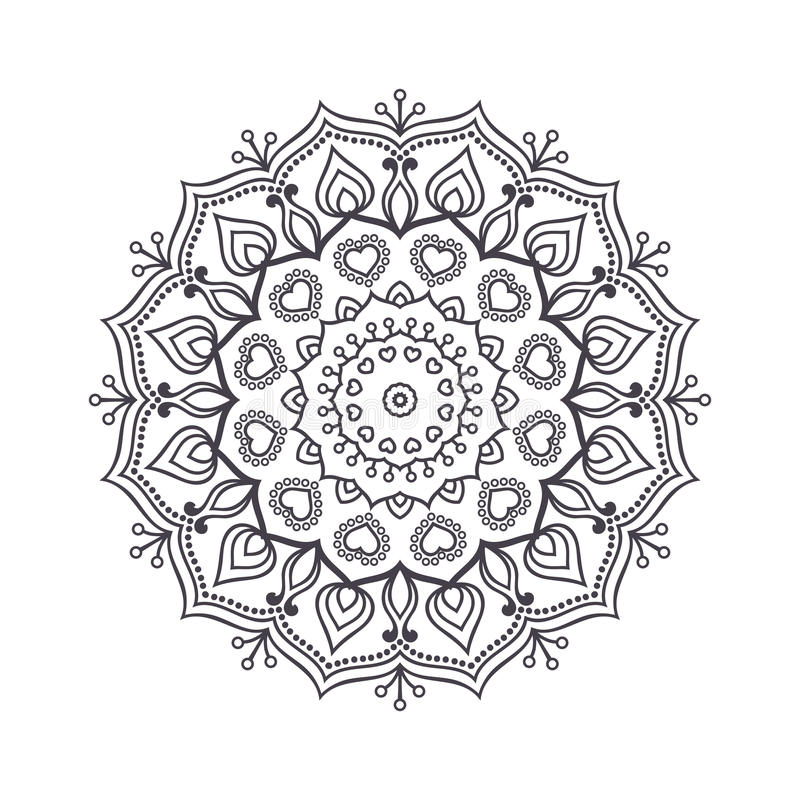 Hand Drawn Flower Mandala For Coloring Book Black And