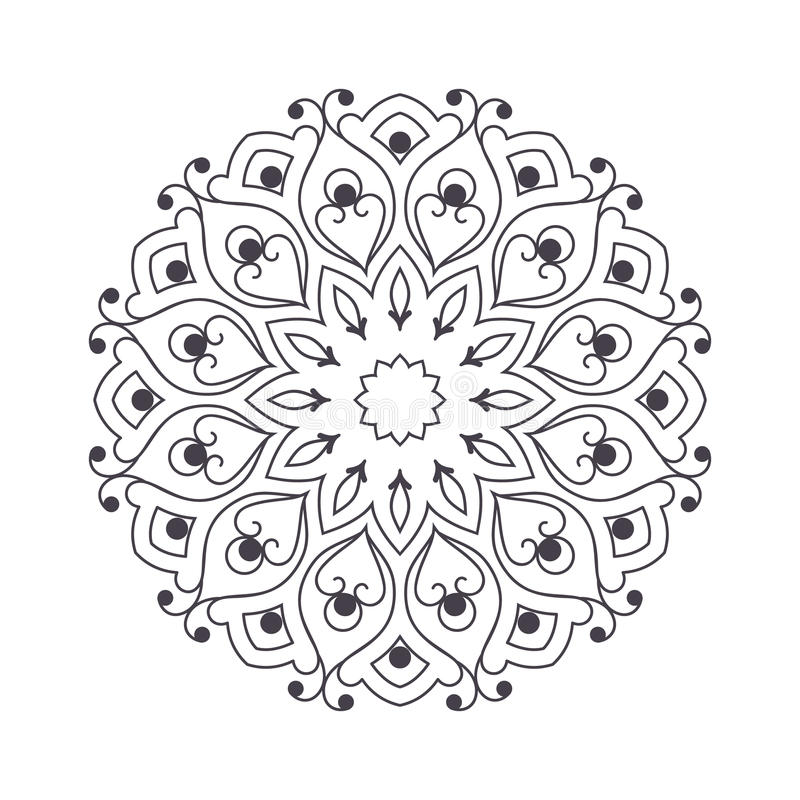 Download Hand Drawn Flower Mandala For Coloring Book Black And White Eth Stock Vector
