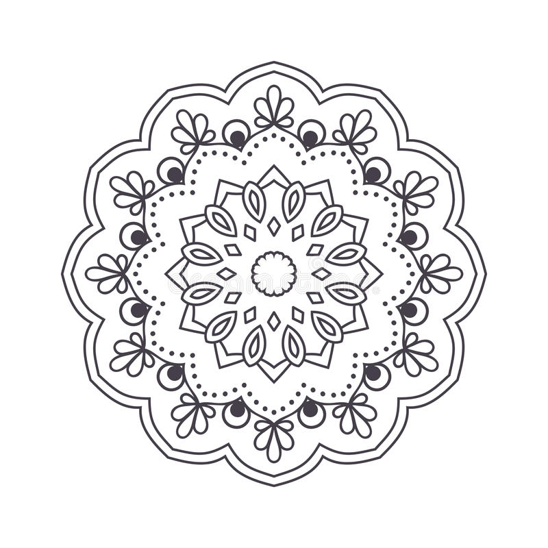 Hand Drawn Flower Mandala For Coloring Book Black And White Eth Stock Illustration