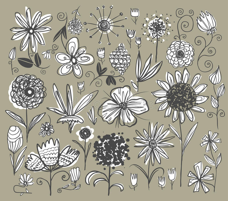 Hand drawn flowers stock illustration