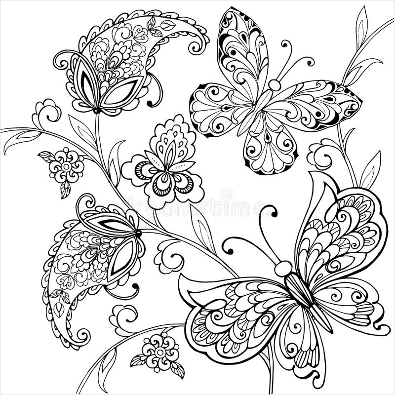 Hand drawn flowers and artistic butterflies for the anti stress coloring page. Vector illustration stock illustration