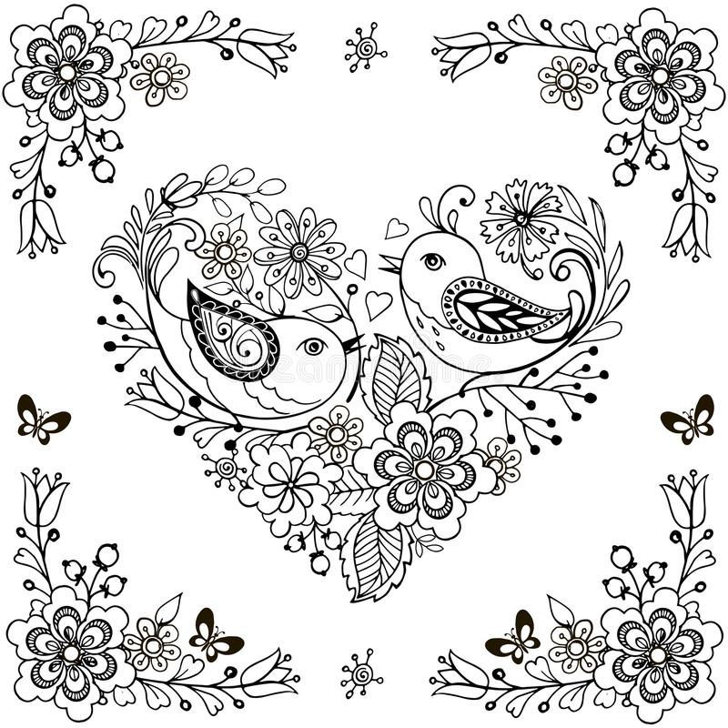 Hand drawn flowers and birds for the anti stress coloring page. Vector heart made of flowers and birds. N royalty free illustration