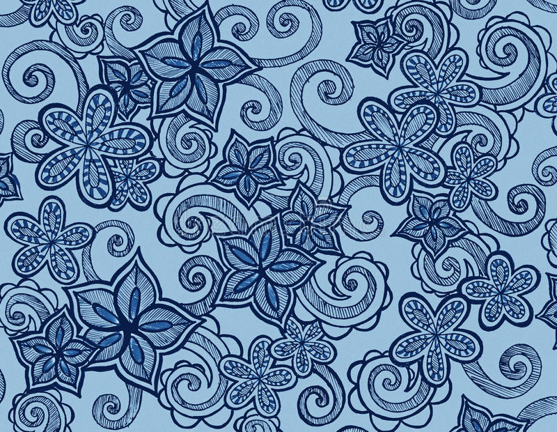 Hand drawn flowers on blue background with curls and swirls vector illustration