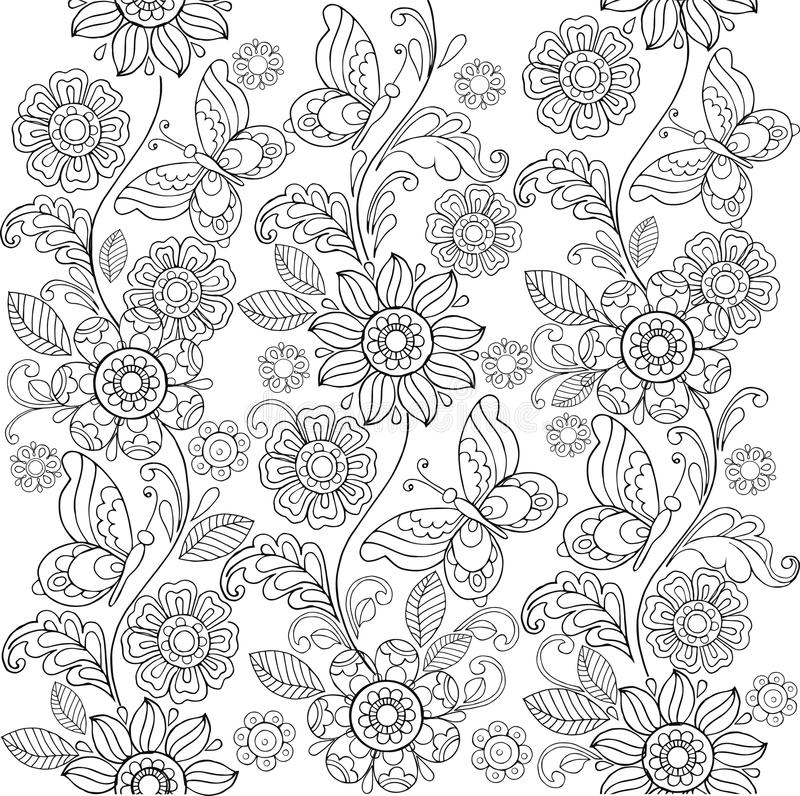 Hand drawn flowers and butterflies for the anti stress coloring. Page royalty free illustration