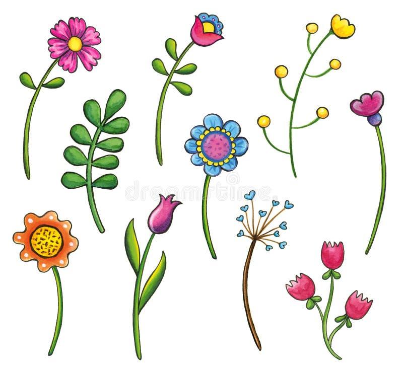 hand drawn flowers clip art set stock illustration illustration of rh dreamstime com wallflower clip art wildflower clipart black and white