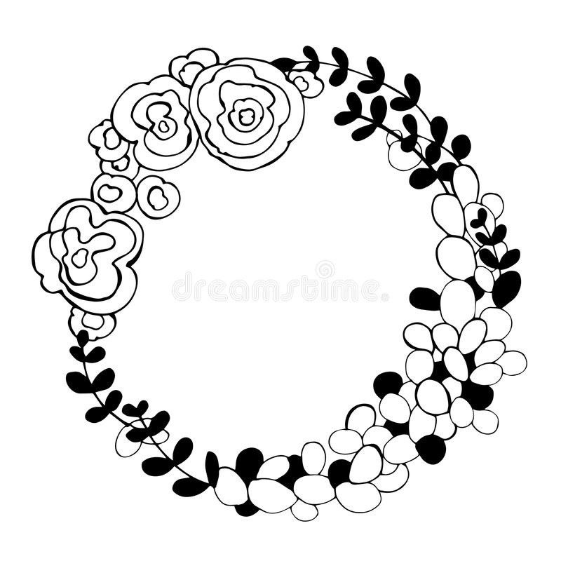 hand drawn flowers floral wreath vector illustration stock vector rh dreamstime com  wreath clip art black and white free