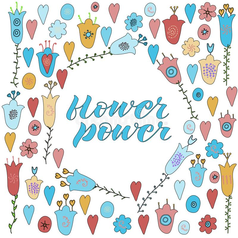 Hand drawn flowers and hearts doodle. Yellow, blue, red flowers. Flower power lettering. Isolated on white background vector illustration