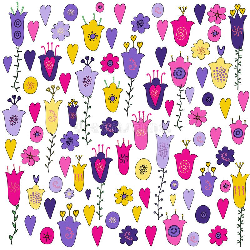 Hand drawn flowers, hearts and leaves doodle. Pink, purple, yellow, violet flowers. Green stems. Set of elements. Isolated on. White background royalty free illustration