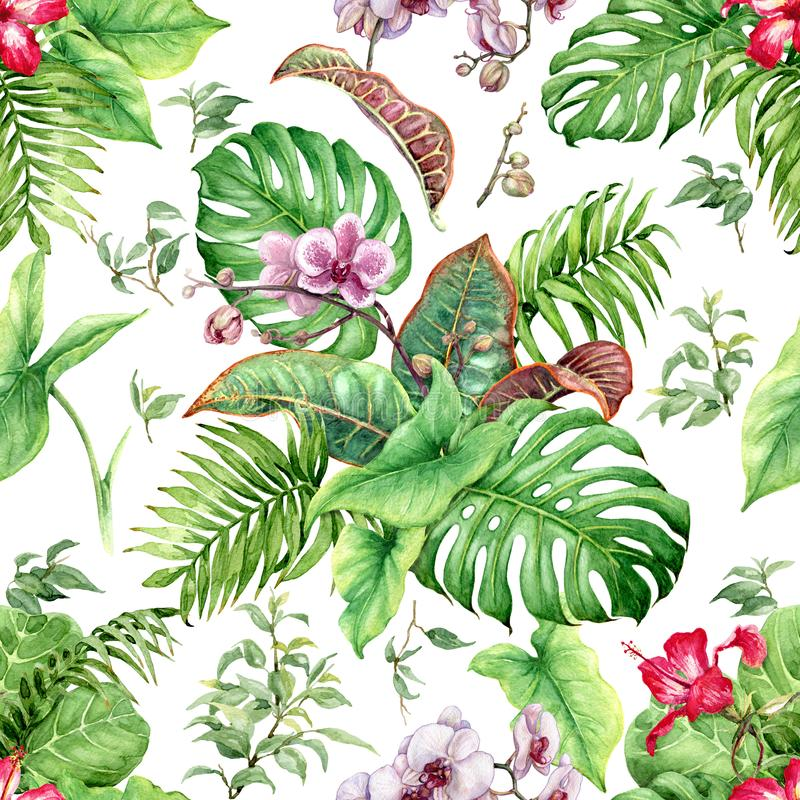 Hand drawn flowers and leaves of tropical plants. Seamless floral pattern made with watercolor green exotic foliage, pink orchid vector illustration