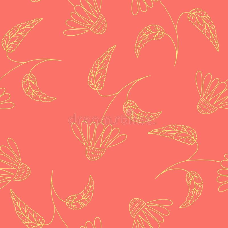 Hand drawn flowers, repeat pattern. Hand drawn flower, gold line art on living coral backdround. Vector seamless surface pattern royalty free illustration