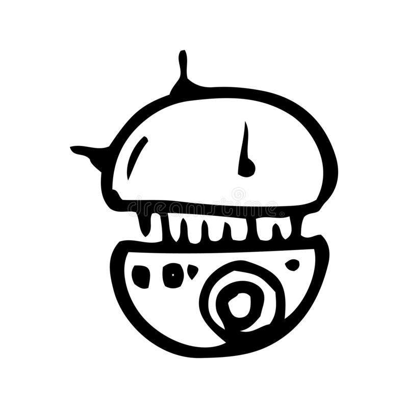 Hand Drawn flying droid doodle. Sketch style icon. Decoration element. Isolated on white background. Flat design. Vector royalty free illustration