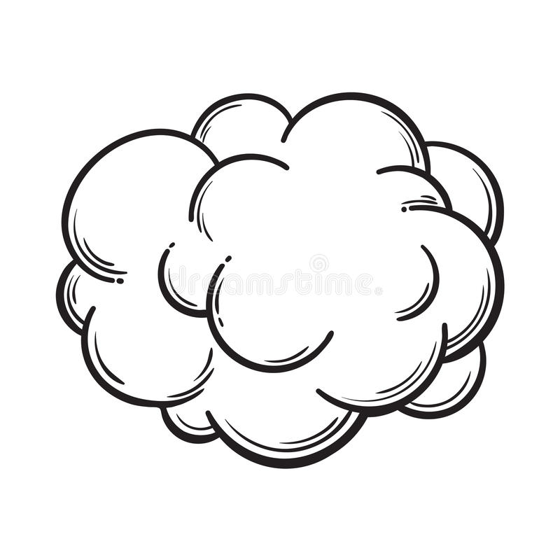 Hand drawn fog, smoke cloud, isolated comic, sketch vector illustration stock photo