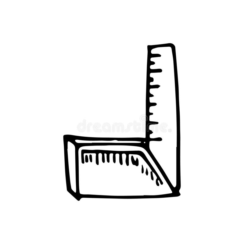 Hand drawn folding ruler doodle. Sketch style icon. Decoration e stock illustration