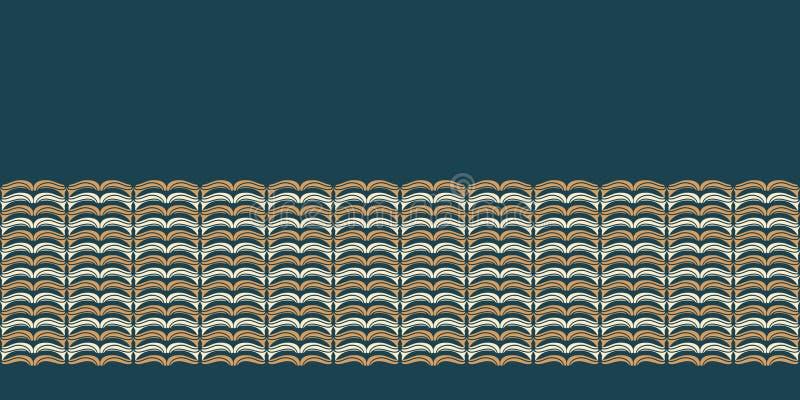 Hand drawn folk art Christmas stripes border pattern. Small curved gold stripes waves on green background. Winter holiday banner. Folk art Christmas stripes stock illustration