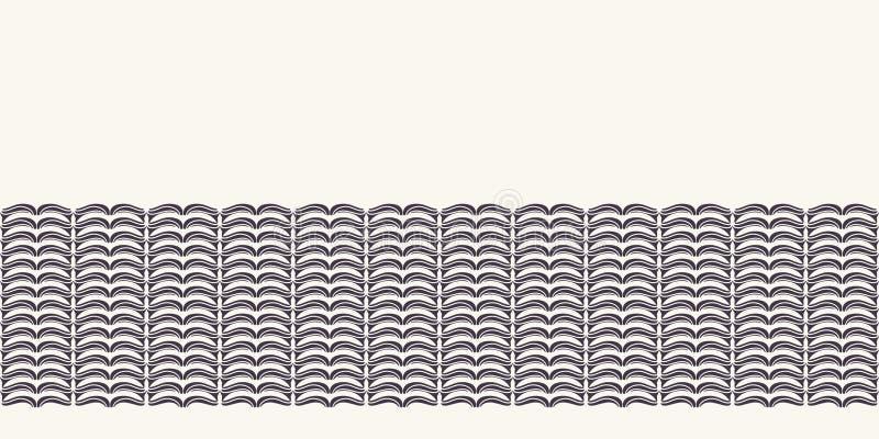 Hand drawn folk art Christmas stripes border pattern. Small curved gold stripes waves on white background. Winter holiday banner. Drawn folk art Christmas vector illustration