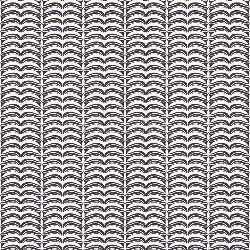 Hand drawn folk art Christmas stripes pattern. Small curved black waves on ecru white background. Cute winter holiday all over. Drawn folk art Christmas stripes royalty free illustration