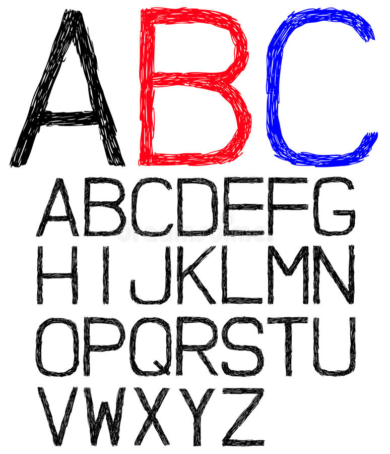 Download Hand drawn font stock vector. Image of scratch, calligraphy - 22706982