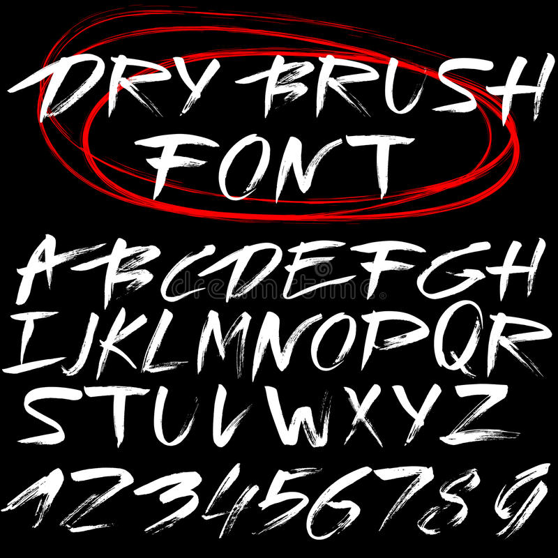 Hand drawn font. Brush stroke alphabet. Grunge style. Vector letters. White font on black background vector illustration