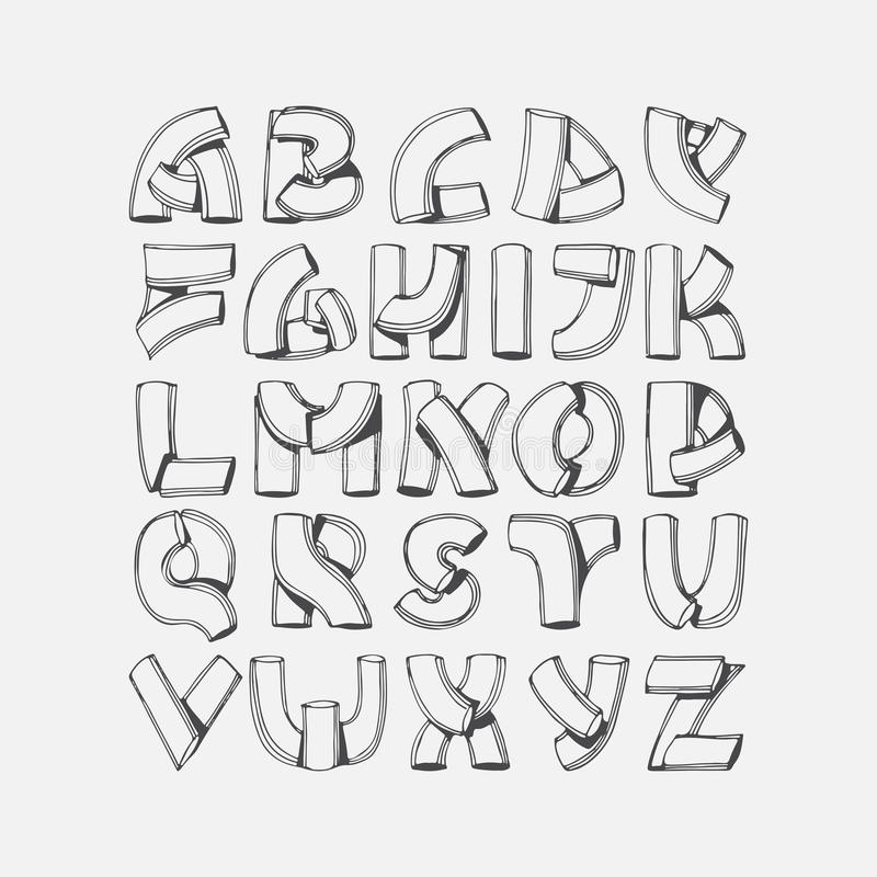 Hand drawn font, imitation of 3d letters. Abc sequence from A to Z, isolated on background. Alphabet illustration, good for royalty free illustration
