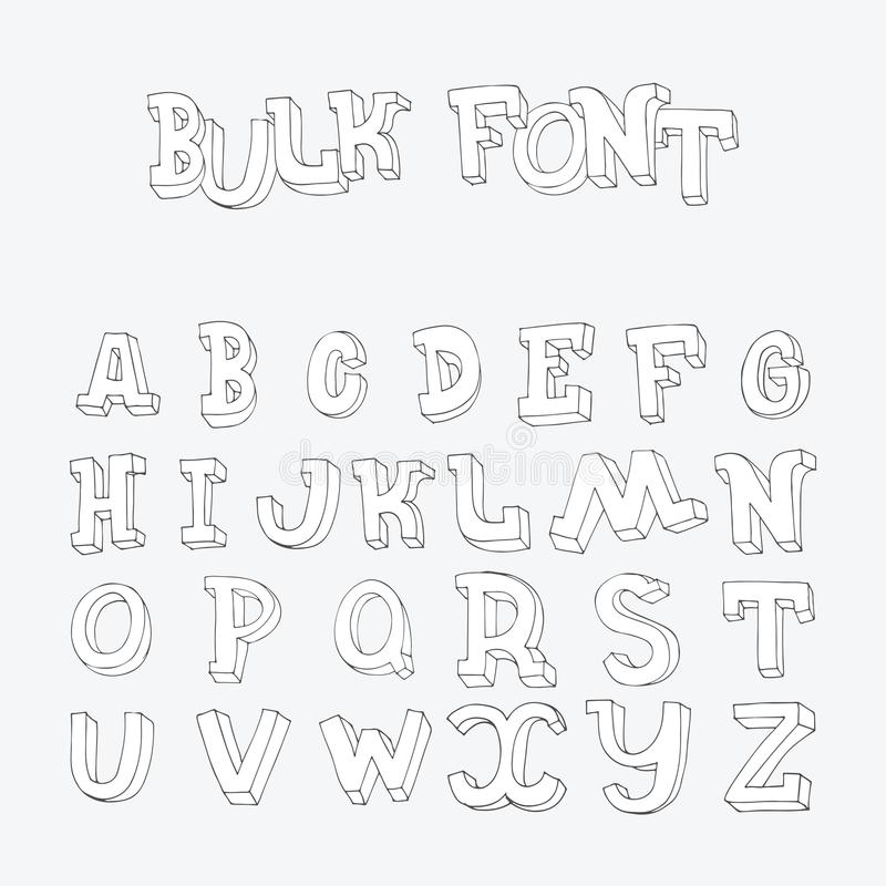 Download Hand Drawn Font Letters Sequence From A To Z In Doodle 3d Style Imperfect