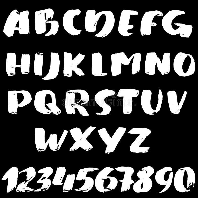 Hand drawn font made by brush strokes. Modern brush lettering. Grunge style bold alphabet. Vector illustration. Hand drawn font made by brush strokes. Modern stock illustration