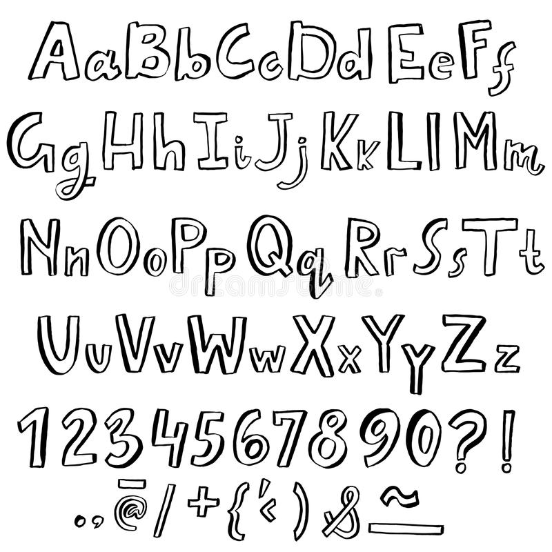 Hand drawn font made by dry brush strokes. Grunge style alphabet. Handwritten font. Vector illustration royalty free illustration