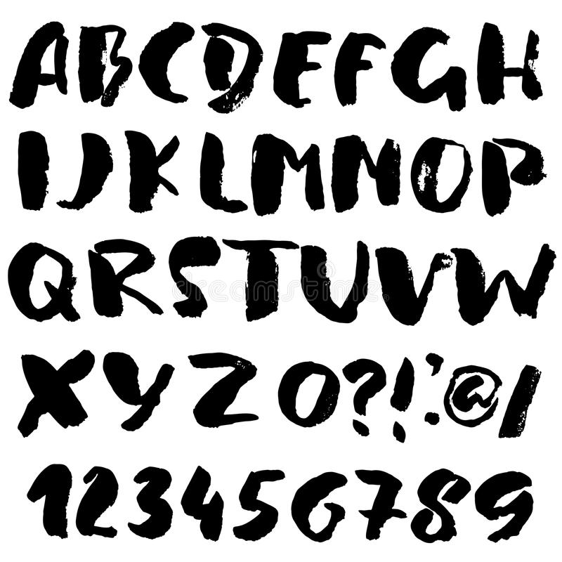 Hand drawn font made by dry brush strokes. Grunge style alphabet royalty free illustration