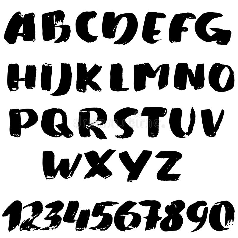 Hand drawn font made by dry brush strokes. Modern brush lettering. Grunge style alphabet. Vector illustration. Hand drawn font made by dry brush strokes. Modern stock illustration