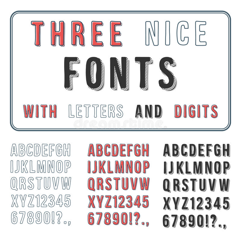 Hand Drawn Font Set. Handwriting Alphabet. ABC with Digits stock illustration