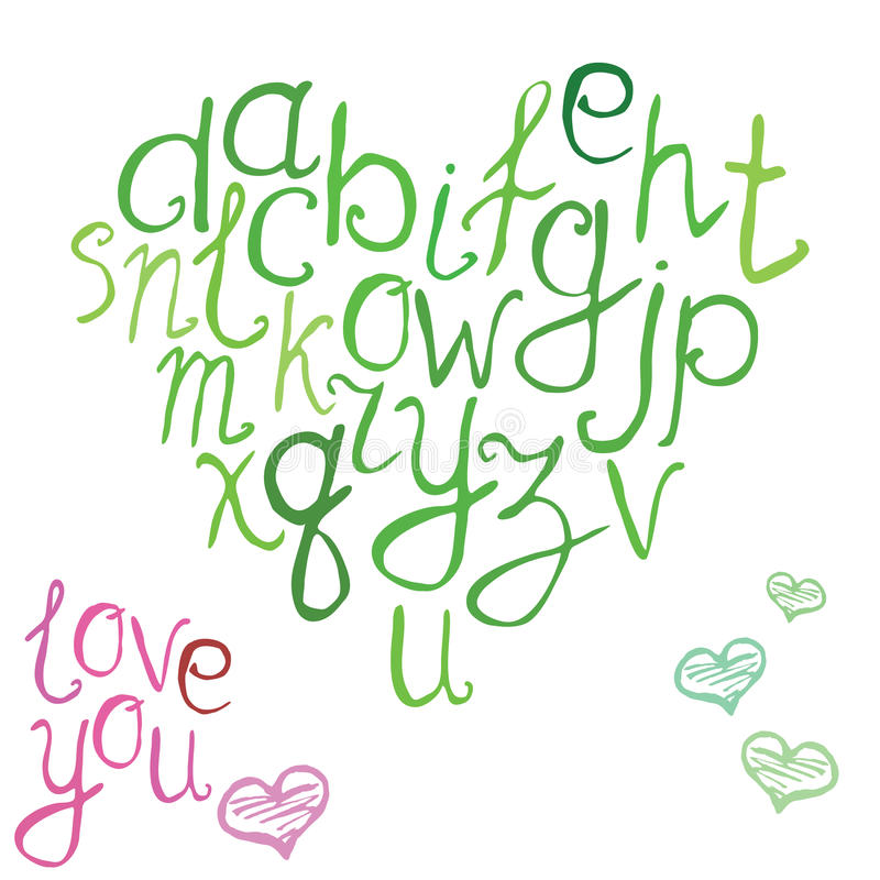 Hand drawn font, vector illustration of hand brushed calligraphic letters in shape of heart royalty free illustration