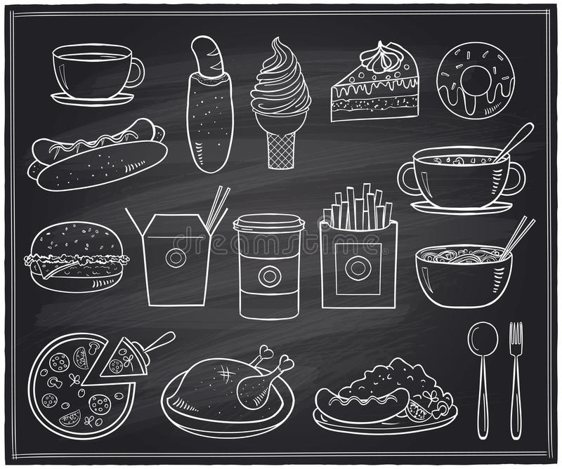 Hand drawn food and drinks graphic symbols on a chalkboard. Hand drawn assorted food and drinks graphic symbols on a chalkboard stock illustration