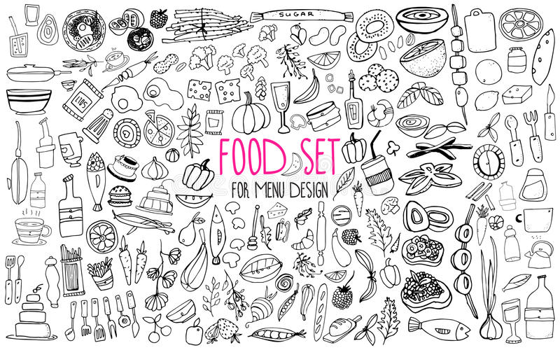 Hand drawn food elements. Set for menu decoration. Cartoon. Simple stylized forms. Hand drawn food elements. Set for menu decoration vector illustration