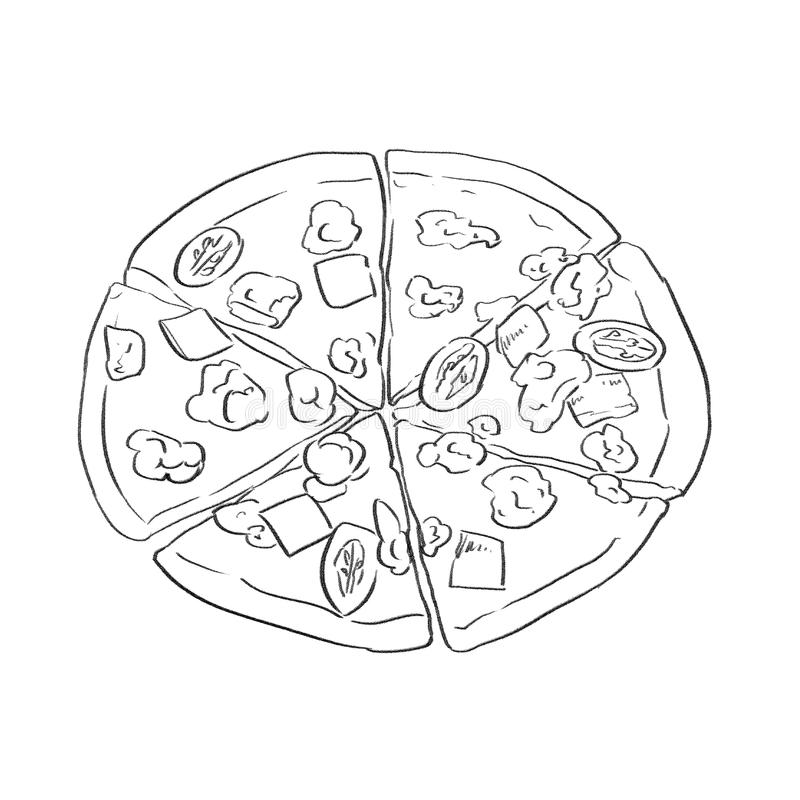 Hand drawn food, pizza Sketch style.Great for market, restaurant, cafe ,food label design stock photos