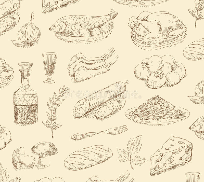 Hand drawn food set vector illustration