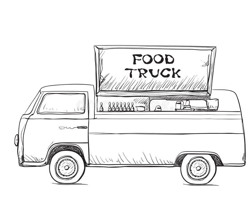 Download Hand Drawn Food Truck Delivery Service Stock Vector