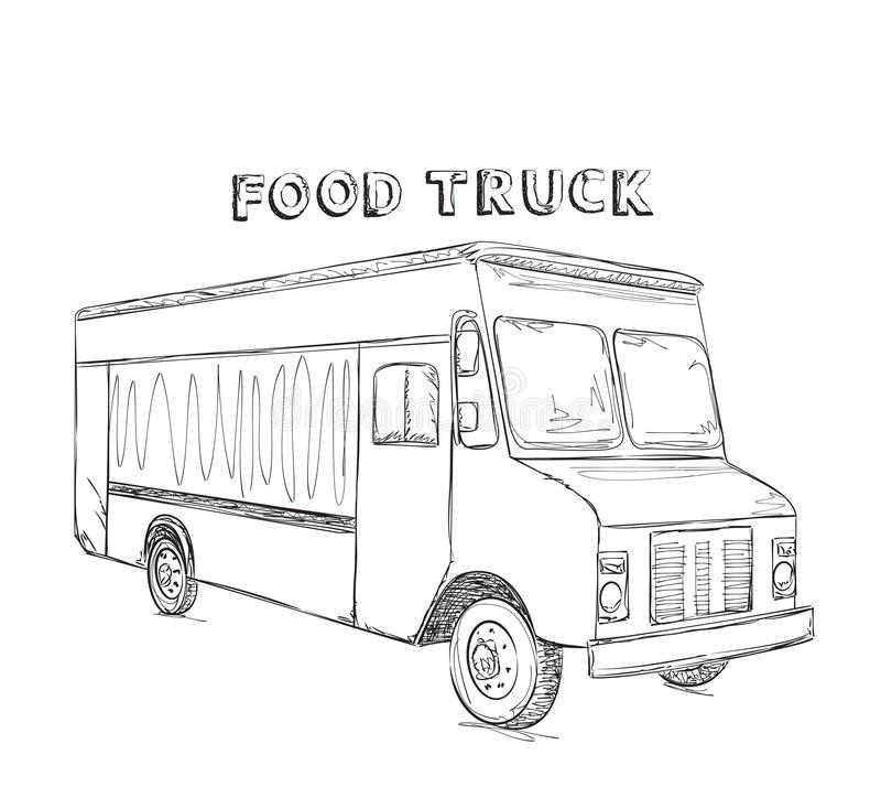 Line Drawing Truck : Hand drawn food truck stock photo image of sketch