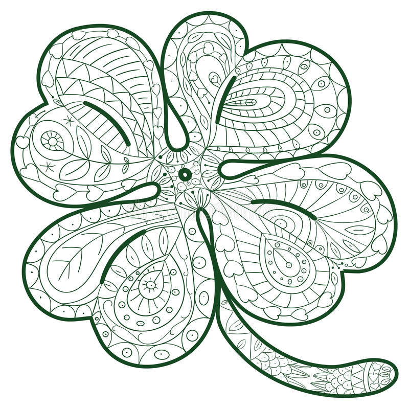 Hand Drawn Four Leaf Clover For Adult Coloring Pages In Doodle Style ...