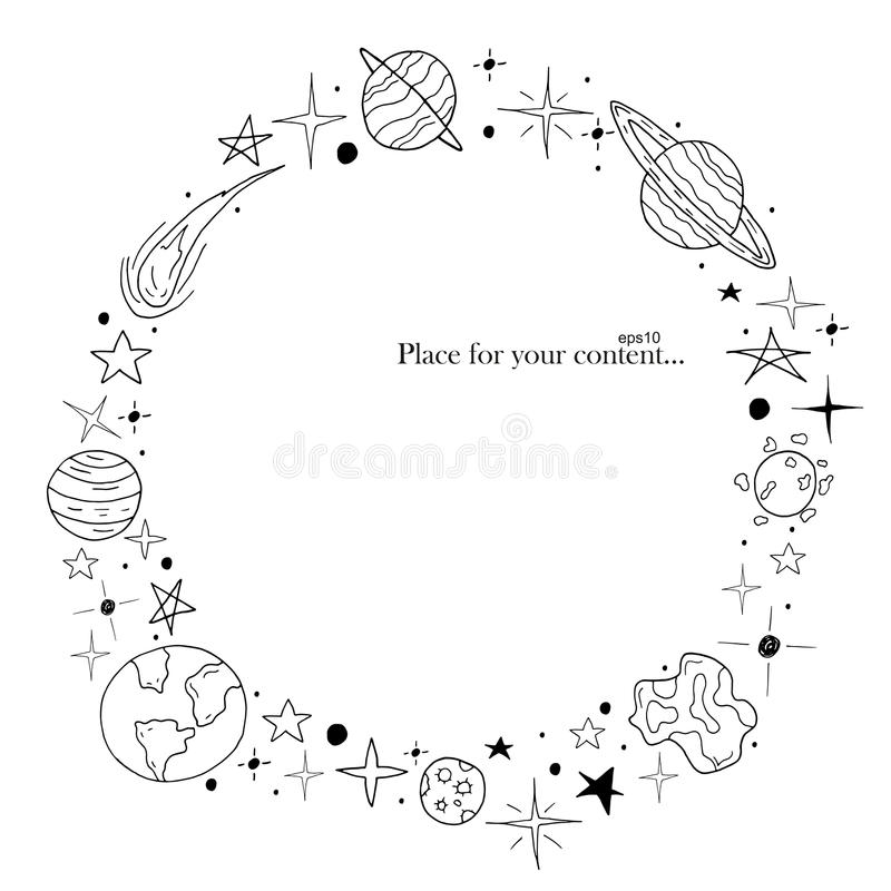 Hand drawn frame. Space elements in doodle style. royalty free illustration