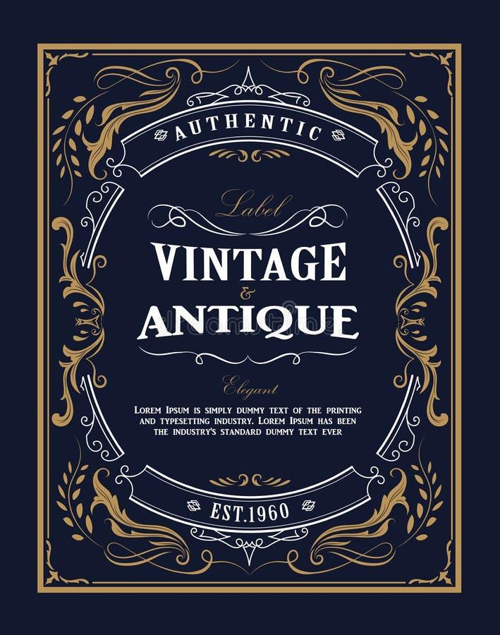 Hand drawn frame Western vintage label Antique banner flourishes. Design vector illustration vector illustration