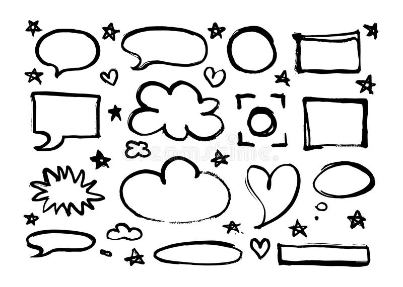 Hand-drawn frames, borders, speech bubbles, stars, hearts set isolated on white background. stock illustration