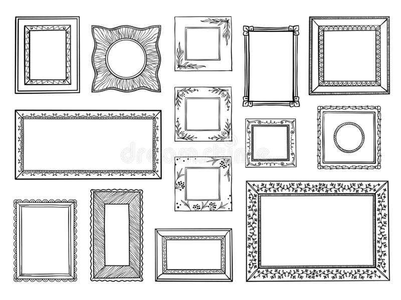 Hand drawn frames. Doodle square and circle boarders, vintage decorative sketch shapes. Vector doodle ornamental vector illustration
