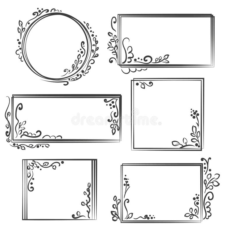 Hand drawn frames set. Cartoon vector square and round borders. Pencil effect shapes . royalty free illustration