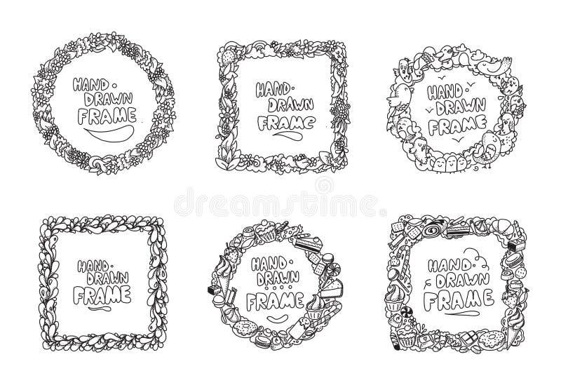 Hand drawn frames set. Usable for greeting cards, photos and quotes. Hand drawn frames set. Usable for greeting cards, scrapbooking, photos and quotes. Frames vector illustration