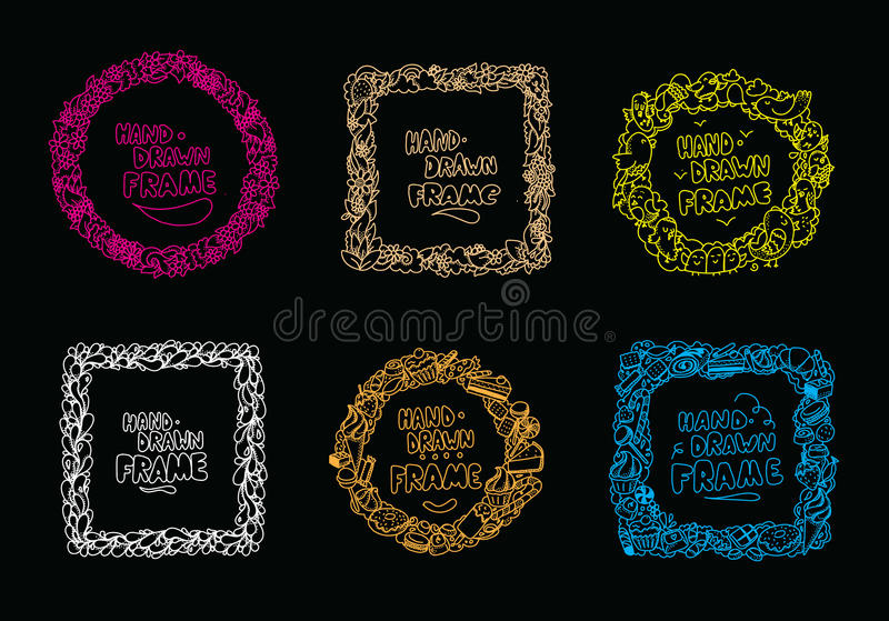 Hand drawn frames set. Usable for greeting cards, photos and quotes. Hand drawn frames set. Usable for greeting cards, scrapbooking, photos and quotes. Frames stock illustration