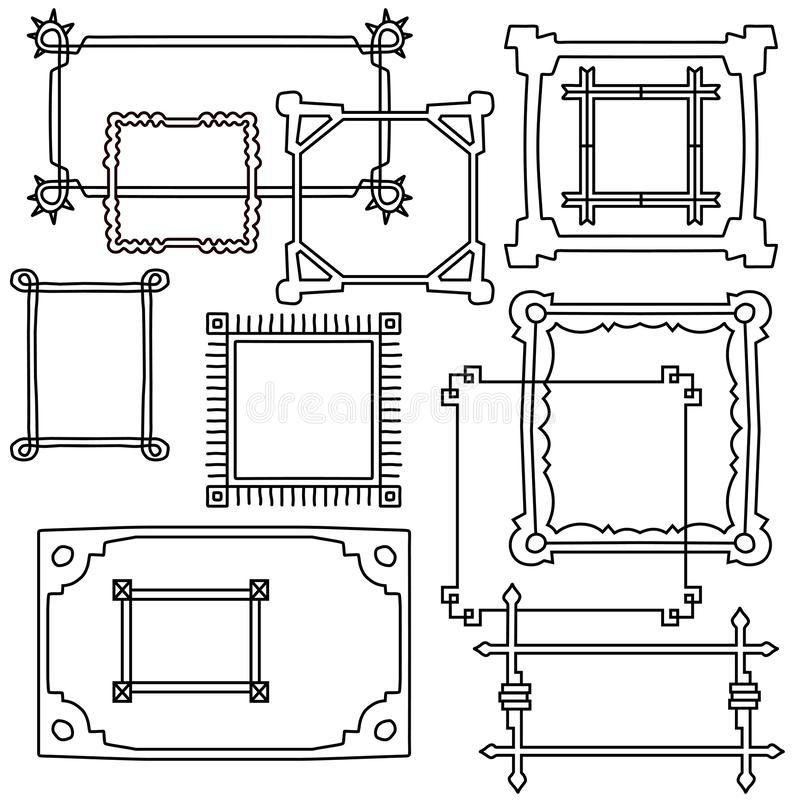 Free Hand Drawn Frames Set. Vector Objects In Cartoon Style. Stock Photography - 145186142