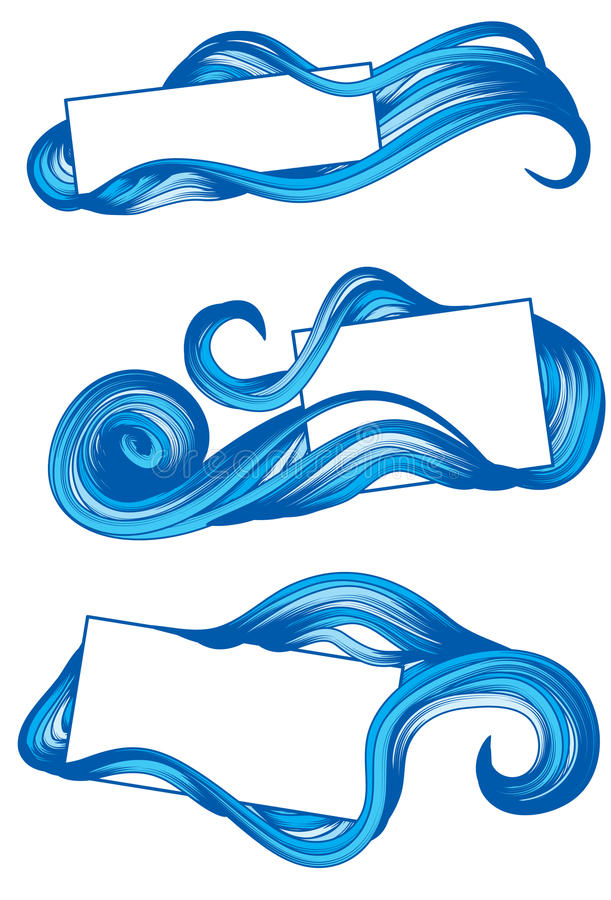 Hand Drawn frames with water stock photo