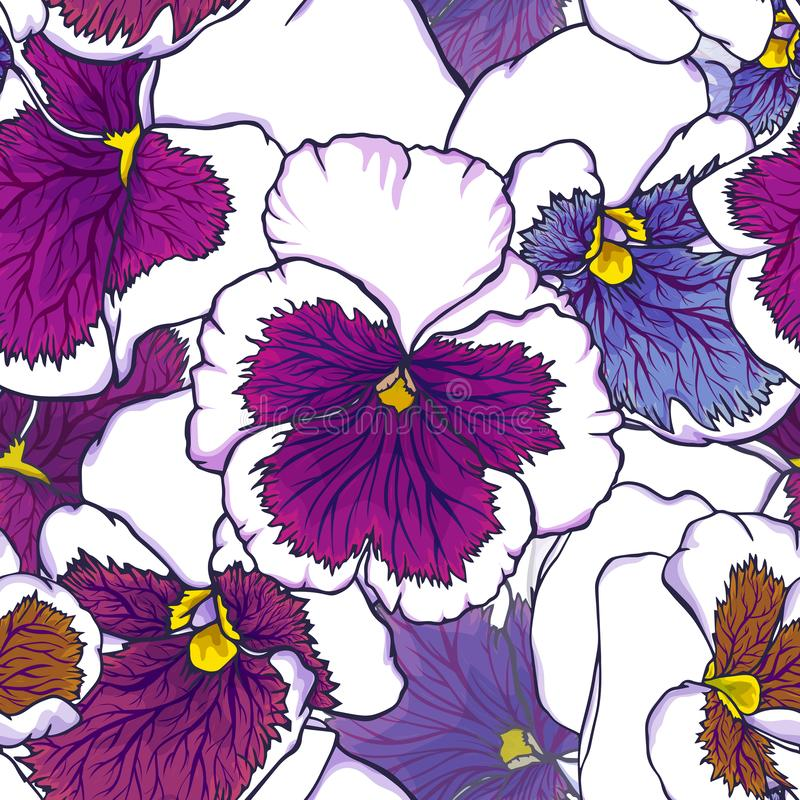 Hand drawn fresh purple and blue viola flowers. Seamless pattern for fabric, wallpaper and textile design stock illustration