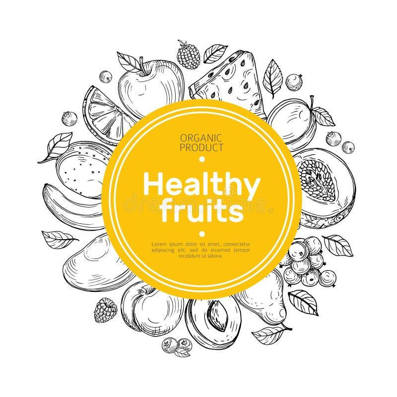 Hand drawn fruit background. Orange and grapes, mango pear, watermelon, raspberry peach farm organic food vector label stock illustration